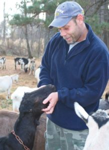Mark Stevens with goats