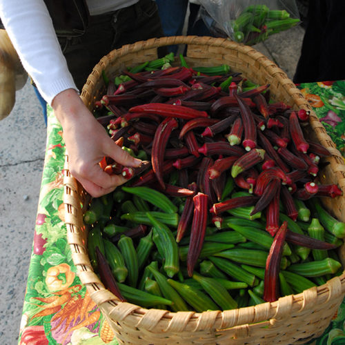 okra at the farmers market