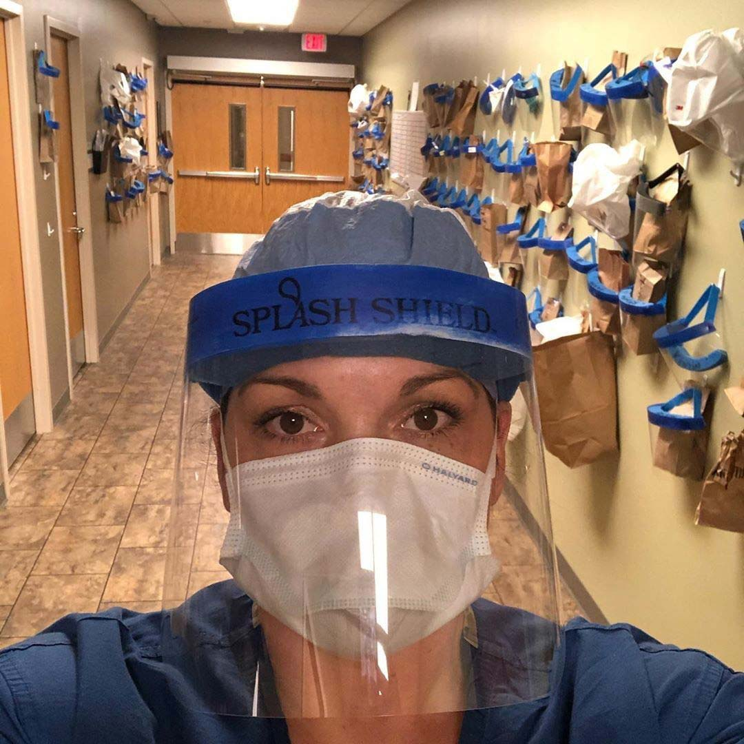 A selfie of Kirsten Eckerman, nurse and Niman Ranch farmer, at the ER fully covered in PPE