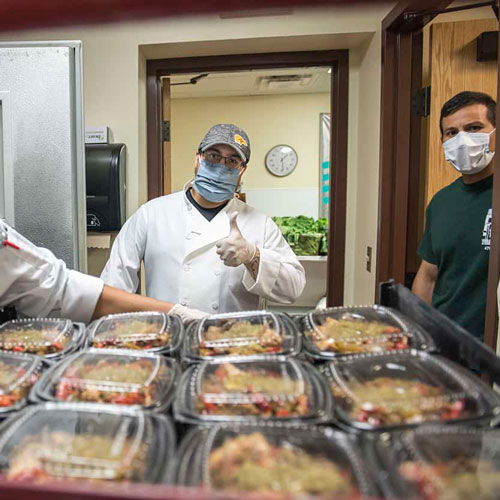 SFCC culinary arts program and local chefs and restaurateurs preparing packaged meals for the World Central Kitchen food distribution project