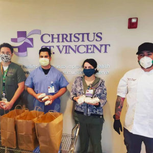 Chef Cristian Pontiggia of Sassella delivers meals to first responders at Christus St. Vincent hospital.