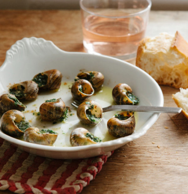 snails garlic butter rose wine
