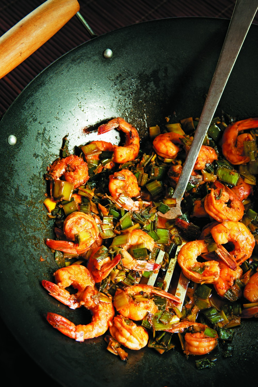 Leek Green Shrimp Stir-fry