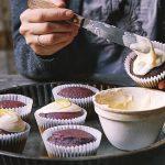Vegan beet and lemon cupcakes