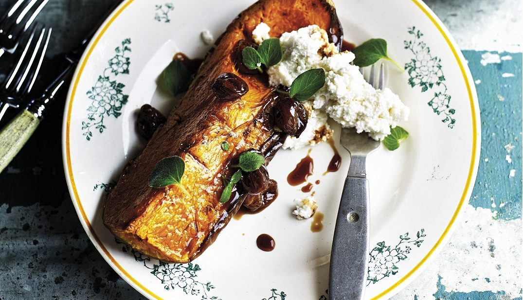 Hot-Smoked Butternut Squash with Ricotta and Grape Jam