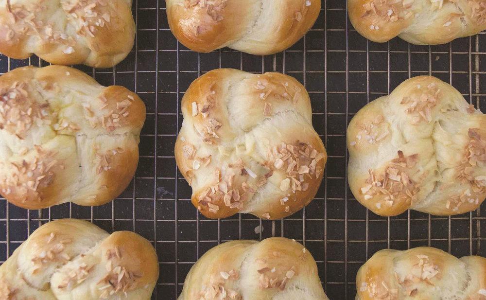 Individual onion challah rolls