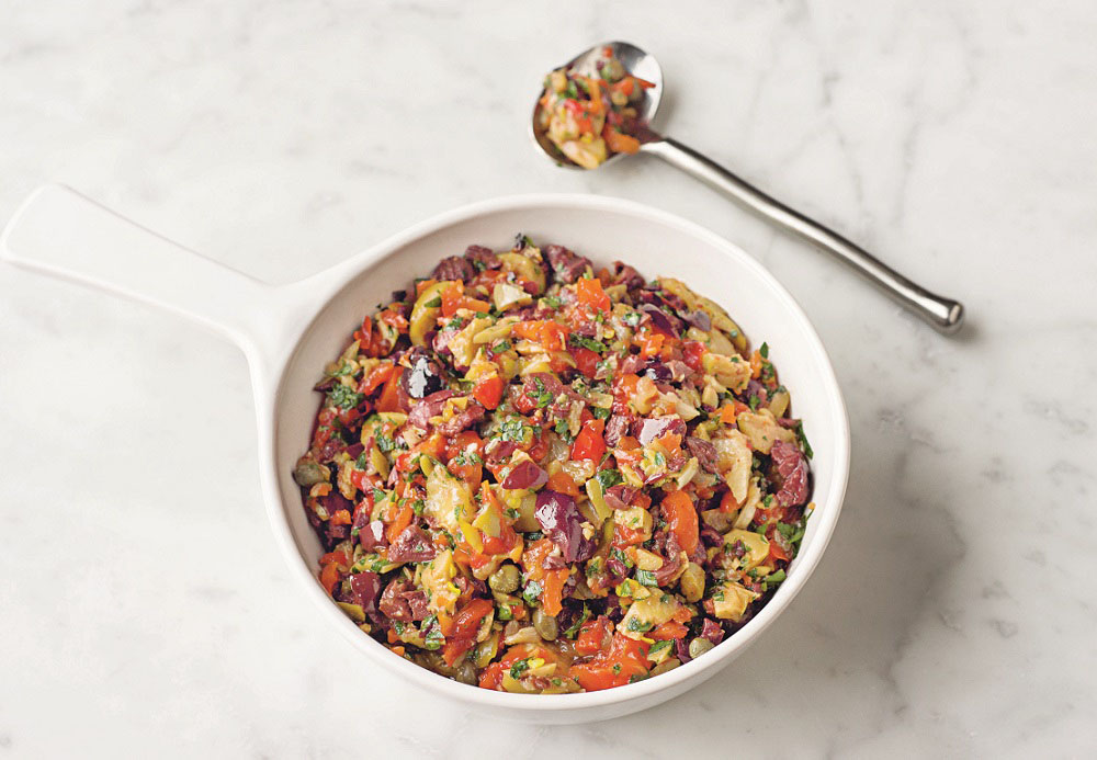 Hot salad made of pickled veggies