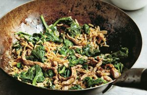 Beef and spinach fried rice stir fry