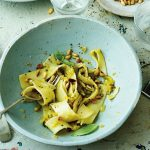 Vegan Courgette and Lemon Pappardelle with Pine Nuts
