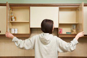 empty kitchen cupboards