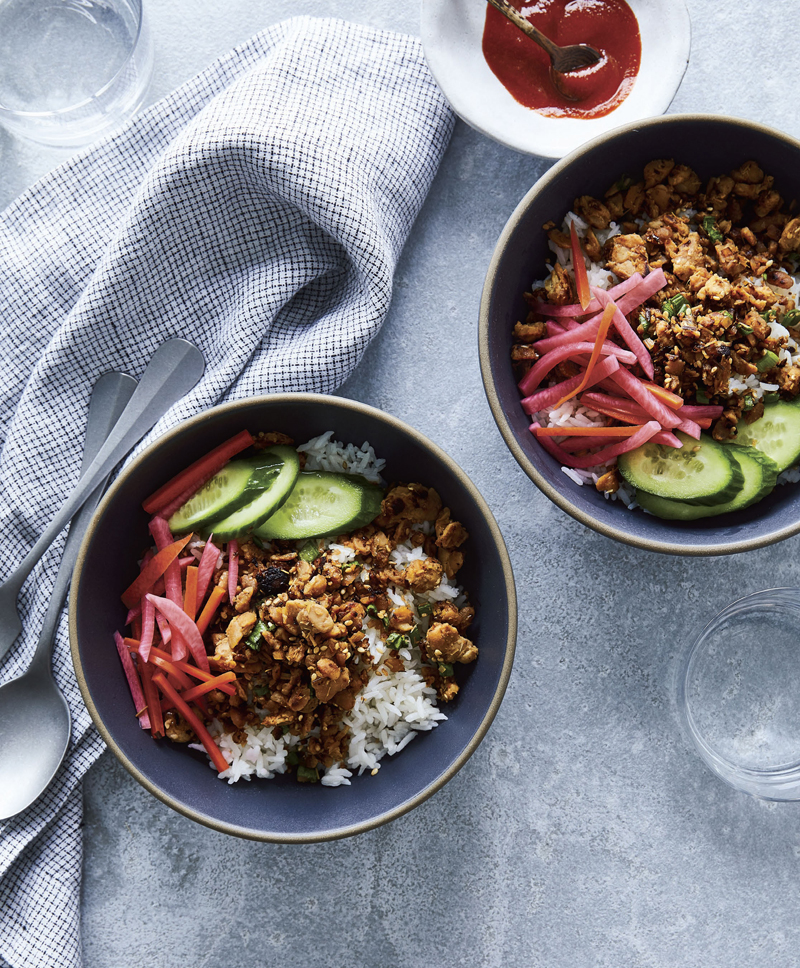 bowls with lemongrass tempeh crumble