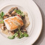 Lingcod with mushrooms and black truffle vinaigrette