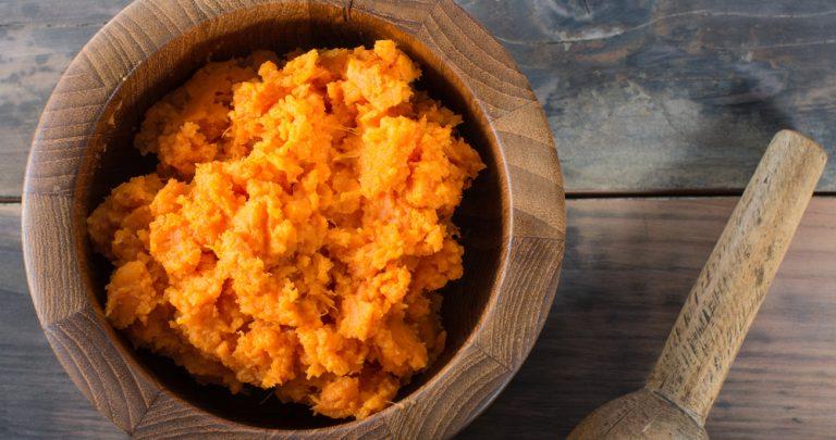 Bowl of mashed sweet potato