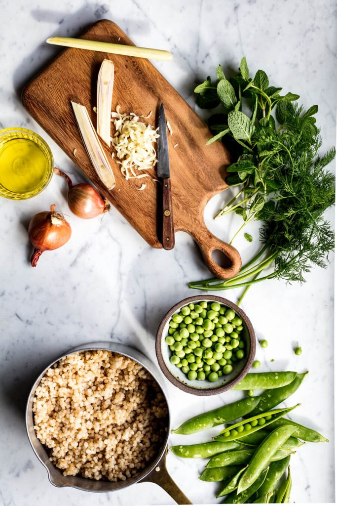 peas and couscous for salad