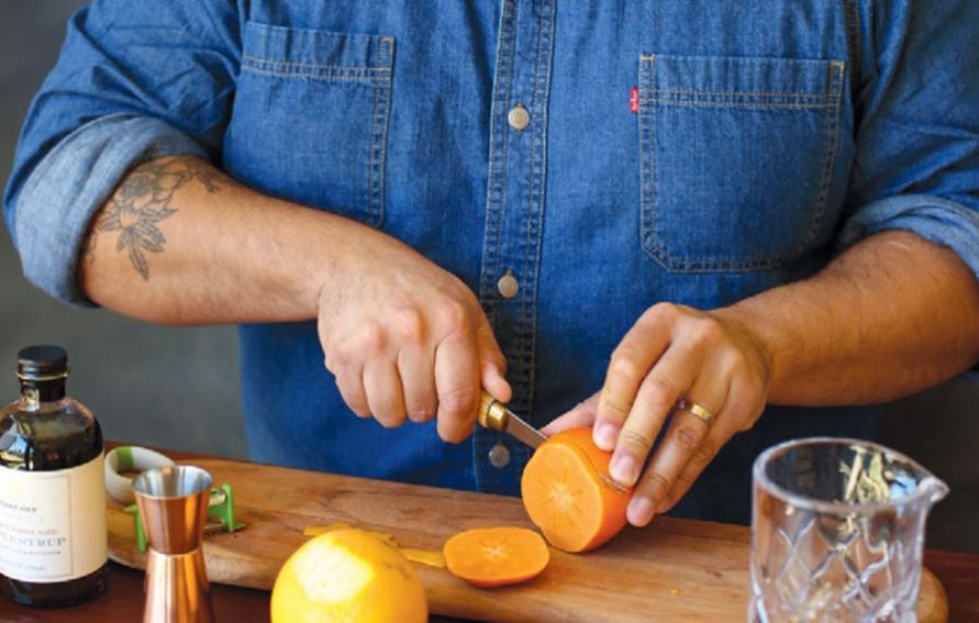 peeling persimmons