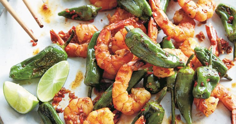 Shrimp with shishito peppers stir fry