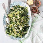sauteed cabbage with chili garnish