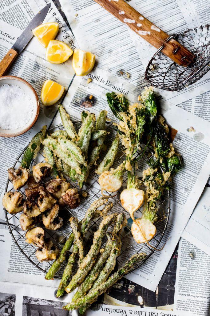 fritto misto of aspargus, turnip and snap peas