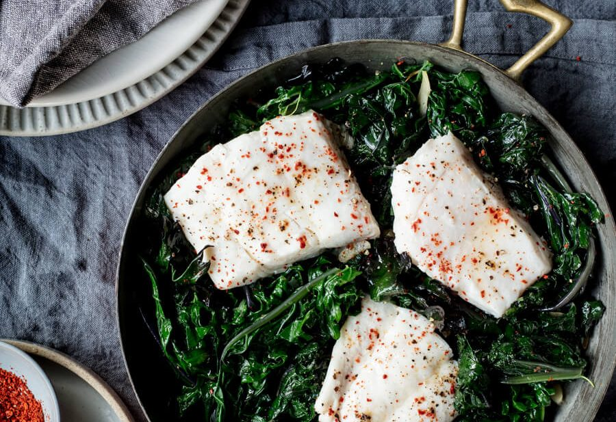 Easy Fish Steamed on Greens - Edible Communities