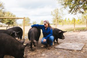 Toni Carter with her pigs