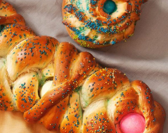 easter bread with colored eggs