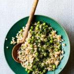 pearl cous cous with sweet pea salad