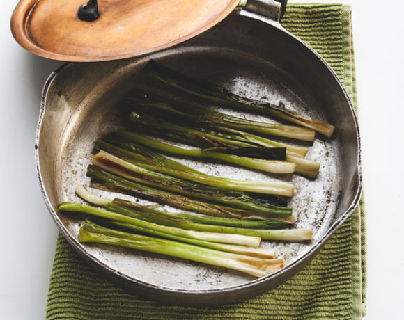 green onions in a pan