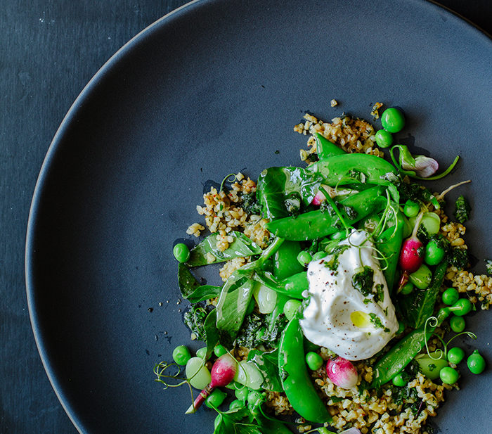 cracked freekeh pea salad