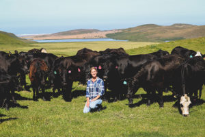 Julie Rossotti with veal calves