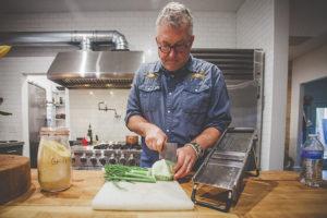 Phillip Hammonds chopping fennel