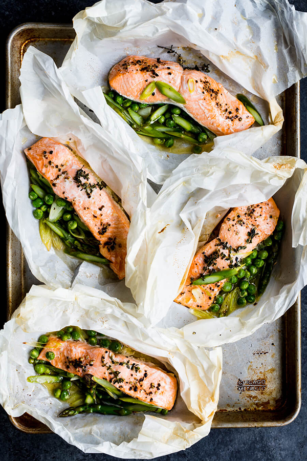 salmon roasted in parchment paper