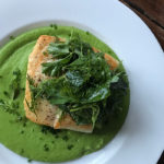 seared halibut with pea sauce