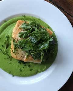 halibut with sweet pea sauce