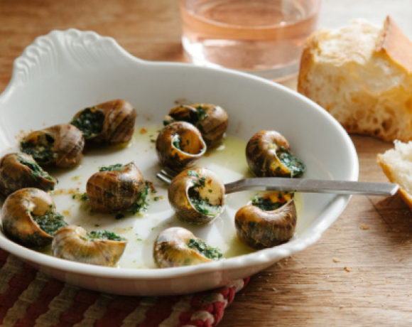 escargot with a glass of rose