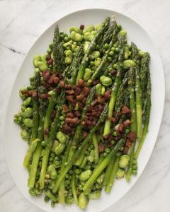 asparagus with peas, fava beans and bacon