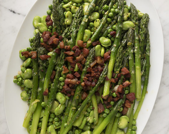 asparagus with peas, fava beans and bacon