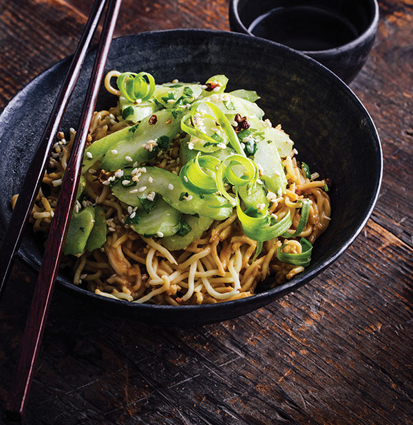 Cold Sesame Noodles with Celery Salad