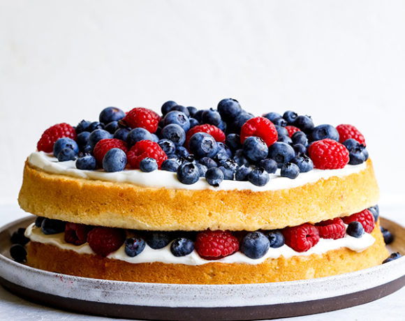 corn cake with berries on top