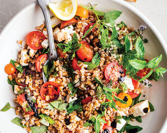 Farro Salad with Cherry Tomatoes, Smoked Mozzarella, and Mint