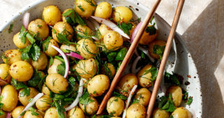 potato salad with herbs and whole grain mustard