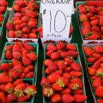 organic strawberries at farmers market