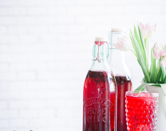 rhubarb shrub in bottles