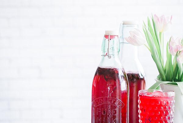 rhubarb shrub in bottles