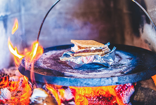 smore cooking on a plancha
