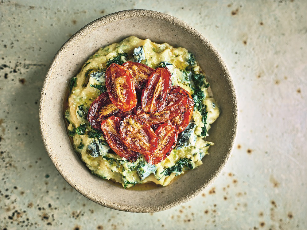 Spinach & Blue Cheese Polenta with Slow-Roasted Tomatoes