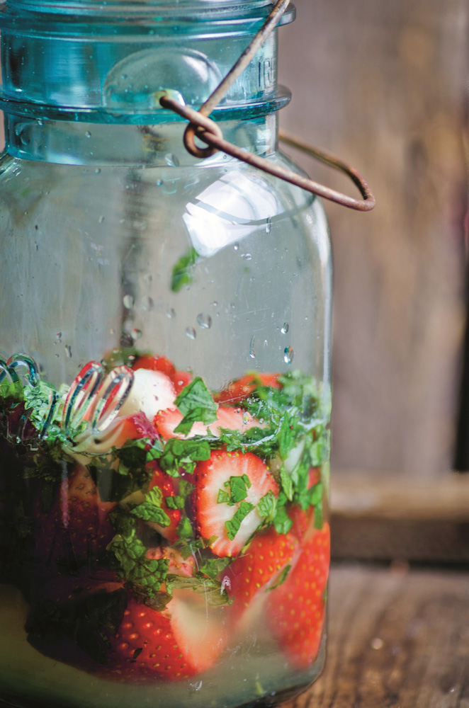 Strawberries in Minted Honey Syrup