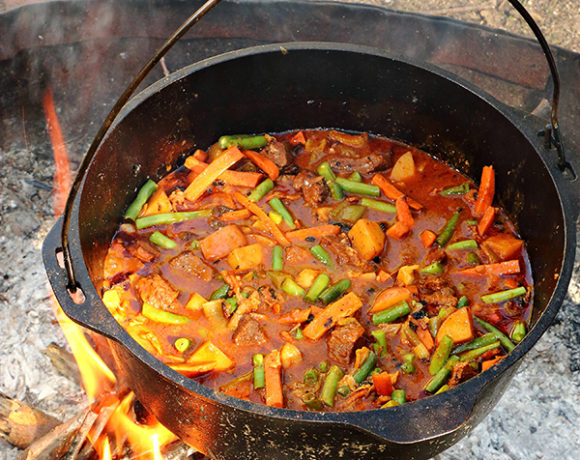 campfire stew in dutch oven
