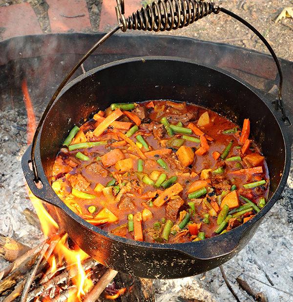 campfire stew in dutch oven