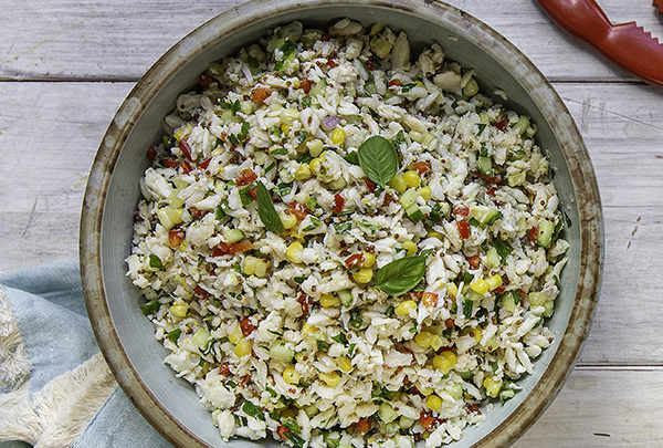 crab salad with sweet corn