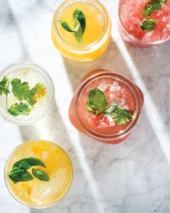 herbal fruit drinks on ice